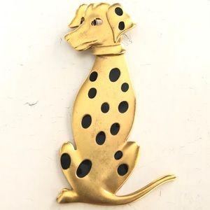 Vintage retro Dalmatian dog brooch movable head